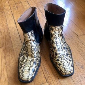 Vintage Stacy Adams Snakeskin Ankle Boots